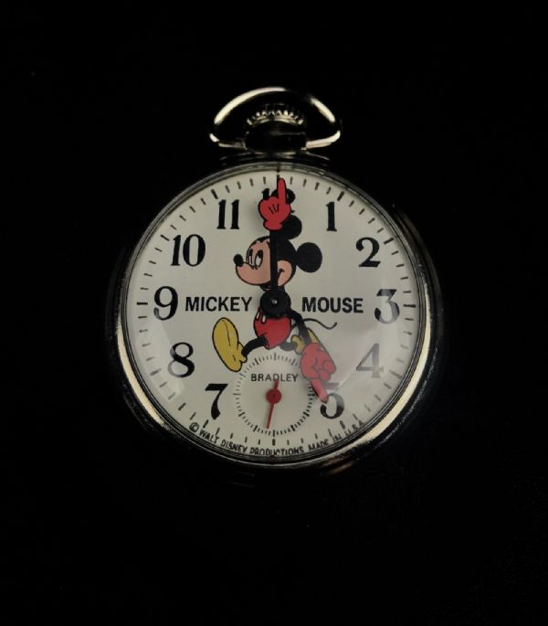 Vintage 1970s Bradley Mickey Mouse Pocket Watch - Walt Disney Memorabilia
